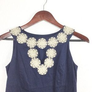 Lilly Pulitzer Navy Floral Lace Trim Sheath Dress